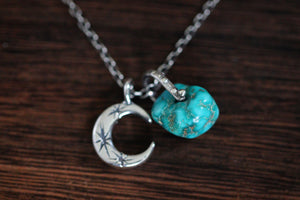 Sterling silver natural Castle Dome turquoise nugget starry moon textured wire necklace #2