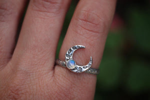 Floral crescent moon moonstone ring US 8