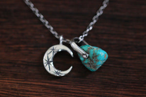 Sterling silver natural Castle Dome turquoise nugget starry moon textured wire necklace #3
