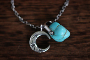 Sterling silver natural Godber Burnham turquoise nugget starry moon textured wire necklace #27