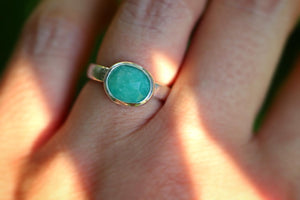 Sterling silver amazonite ring US 4.5