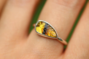 Yellow tourmaline leaf ring US 7
