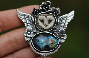 Made to size/length Laura mears barn owl and rose cut Spectrolite necklace or cuff