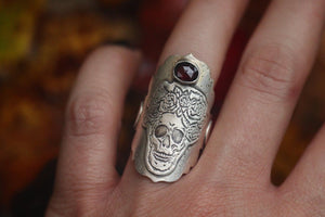 Victorian inspired skull and rose saddle ring