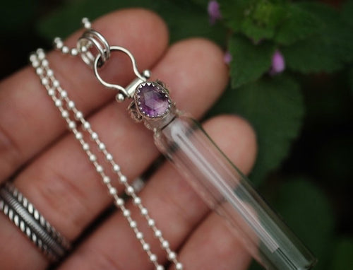 Scent perfume / dried flowers / essential oil bottle necklace #3