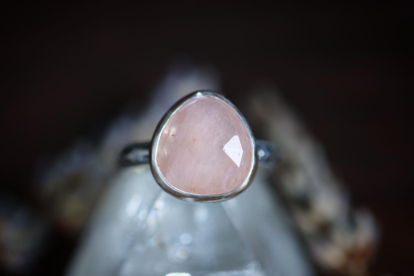Sterling silver rose cut morganite ring US size 5.25