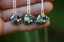 Made to order sterling silver pumpkin necklace with tourmaline carved leaf