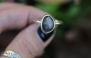 Rare rose cut black moonstone with rainbow ring US size 7.25