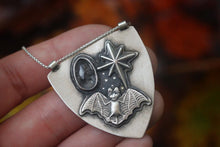 Bat northern star herkimer diamond shield necklace