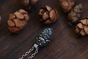 Sterling silver extra mini hemlock cone necklace