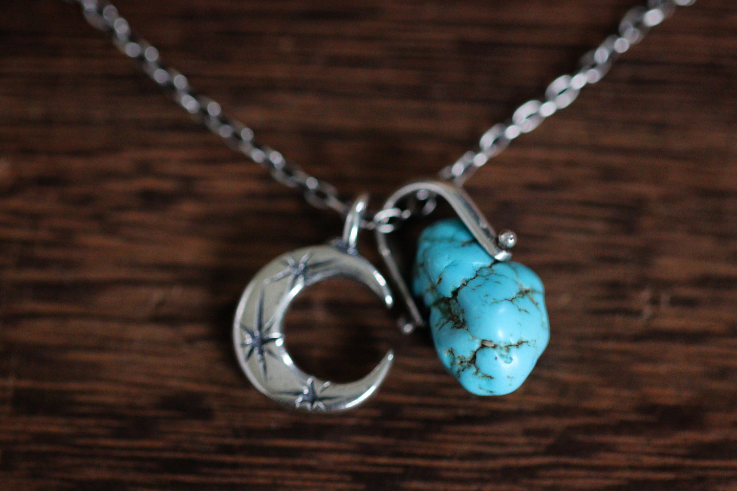 Sterling silver natural Godber Burnham turquoise nugget starry moon textured wire necklace #17