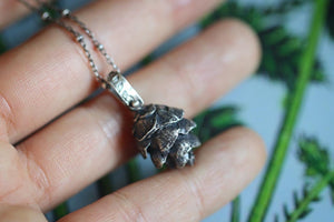 Solid sterling silver hemlock cone necklace #14