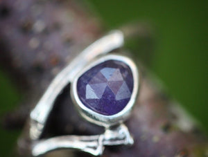 Rose cut tanzanite twig ring fits a US size 9-9.5