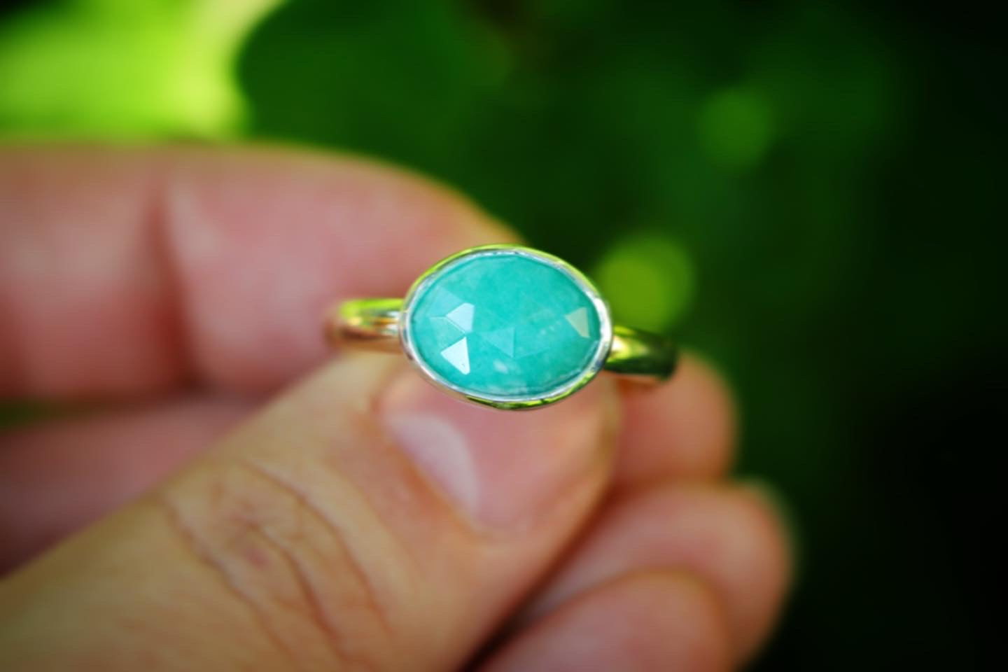 Sterling silver and 14k gold filled amazonite ring US 9.5