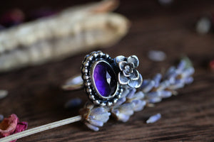 Victorian style amethyst succulent ring