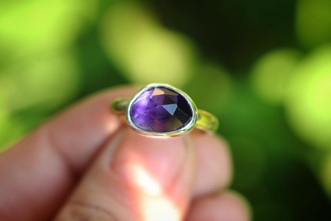Sterling and 14k gold filled amethyst ring US 7
