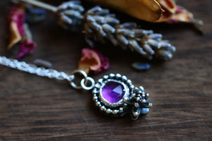 Victorian style amethyst succulent necklace