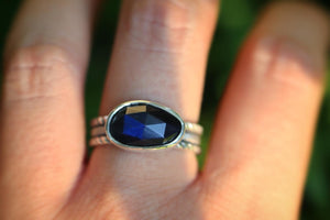 Sterling silver labradorite ring US 8.5