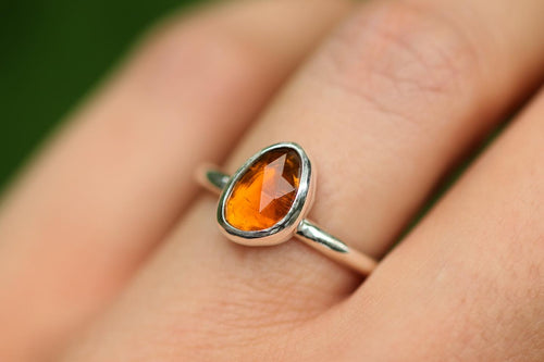 burnt orange tourmaline ring US 6