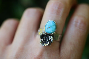 Valley Blue turquoise succulent ring US 8