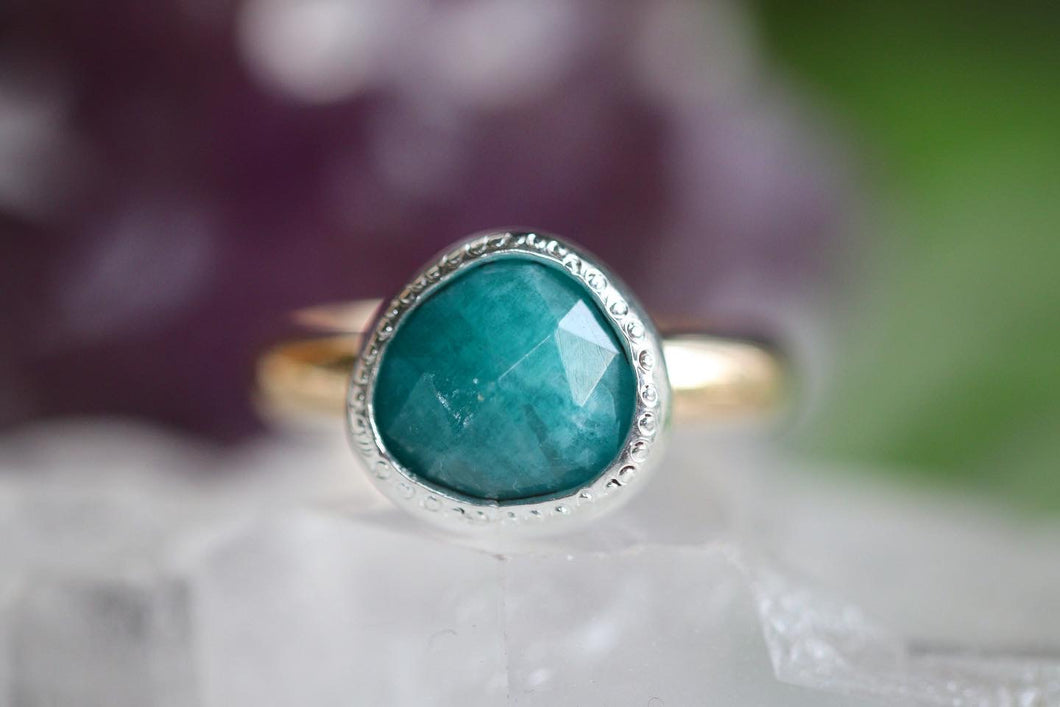 sterling and 14k gold filled amazonite ring US 6