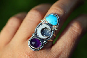 Mother of pearl crescent moon, Morenci turquoise and amethyst starry night statement ring US 7