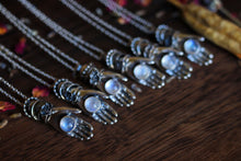Oracle hand rainbow moonstone necklace