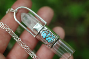 Quartz crystal and Natural Fox mine turquoise sterling silver rollerball necklace