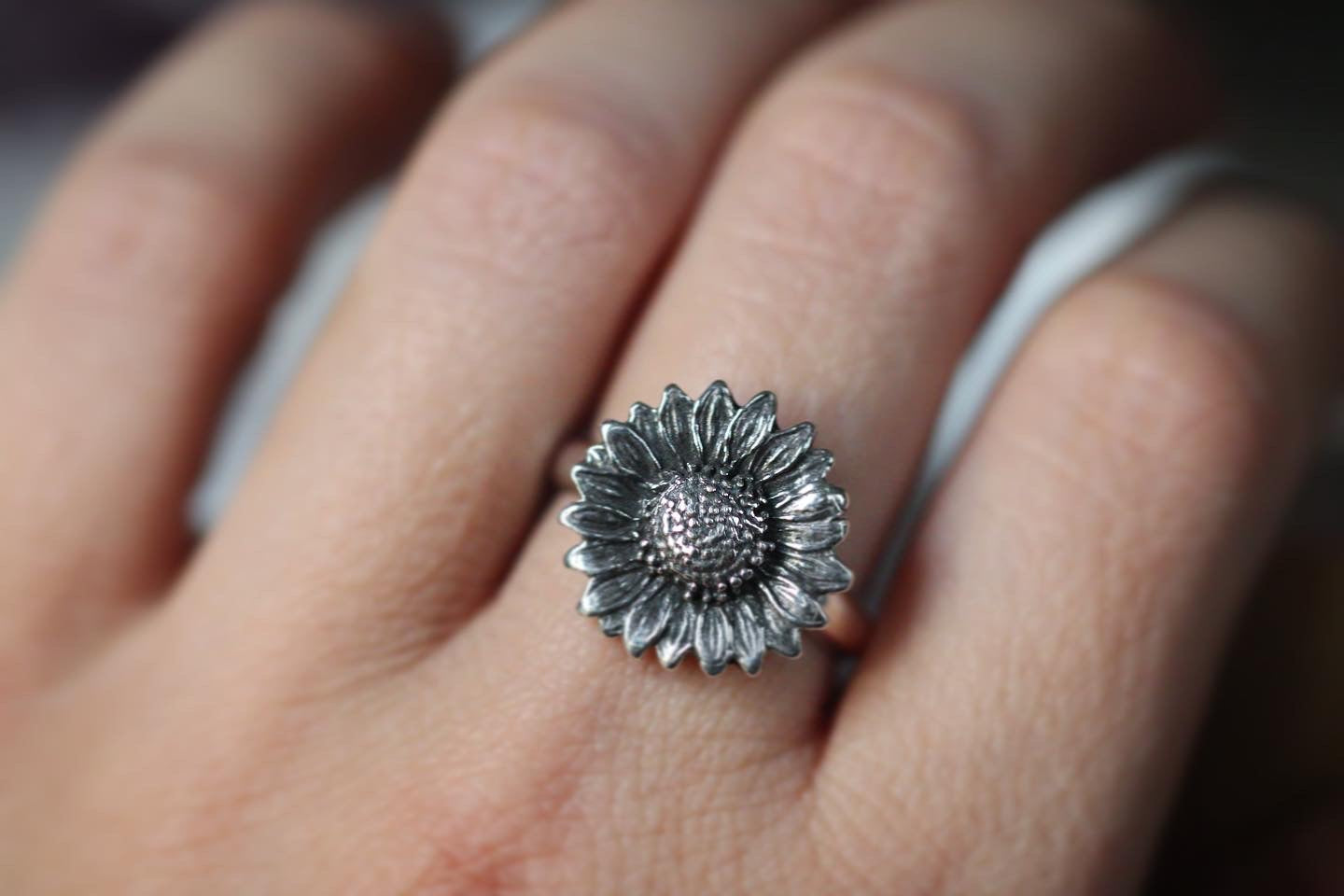 Sterling silver sunflower ring US 8