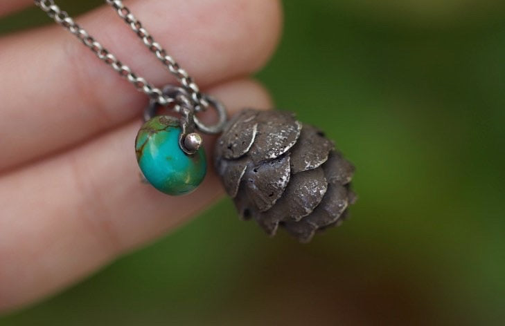 Solid sterling silver hemlock cone turquoise necklace #3