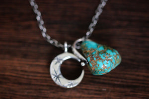 Sterling silver natural Castle Dome turquoise nugget starry moon textured wire necklace #6