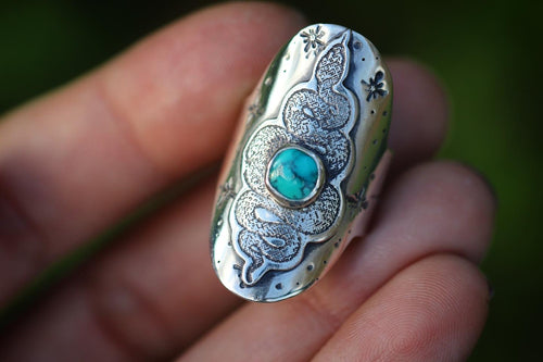 Carico Lake turquoise snake starry night saddle ring US size 6