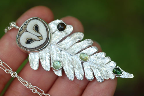Laura Mears owl fern necklace