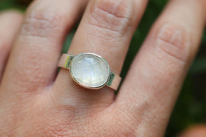 Sterling silver rainbow moonstone ring US 9.5