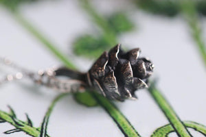Solid sterling silver hemlock cone necklace #10