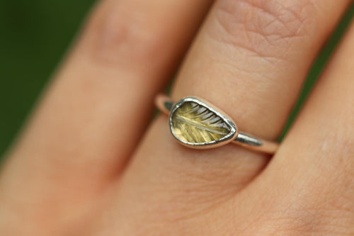 Yellow tourmaline leaf ring US 5