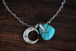 Sterling silver natural Castle Dome turquoise nugget starry moon textured wire necklace #12