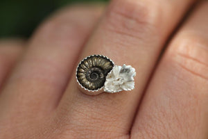 Made to order pyrite ammonite necklace/ring #2