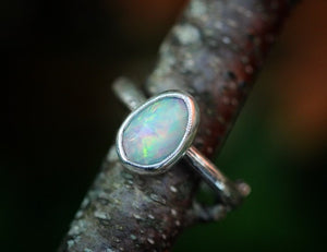 Rose cut Ethiopian opal twig ring fits US size 7
