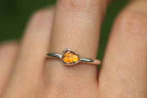 orange tourmaline leaf ring US 7.5