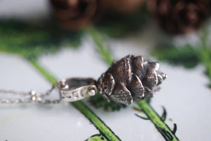 Solid sterling silver hemlock cone necklace #3