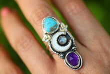 Mother of pearl crescent moon, rainbow moonstone, Morenci turquoise and amethyst statement ring US 8