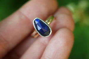 Sterling and 14k gold filled labradorite ring US 4.5