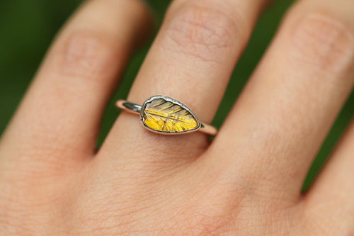 Yellow tourmaline leaf ring US 6