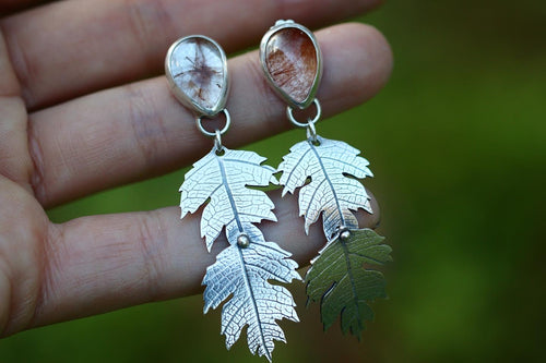 Hawthorne leaf dangle earrings with teardrop red rutilated quartz
