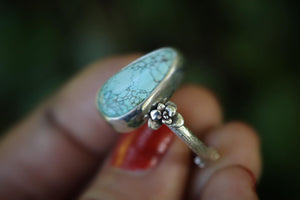 Sterling silver natural number 8 mine turquoise twig ring 7