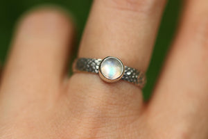 Rainbow moonstone snake ring US 7