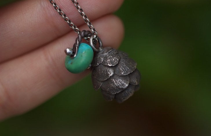 Solid sterling silver hemlock cone turquoise necklace #6