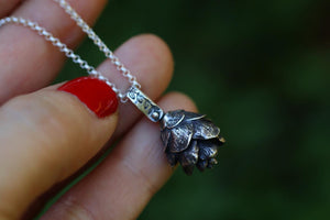 Solid sterling silver hemlock cone necklace