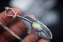 Sterling silver feather opal necklace